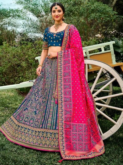 Royal Blue Wedding Wear Semi Stitched Lehenga Choli