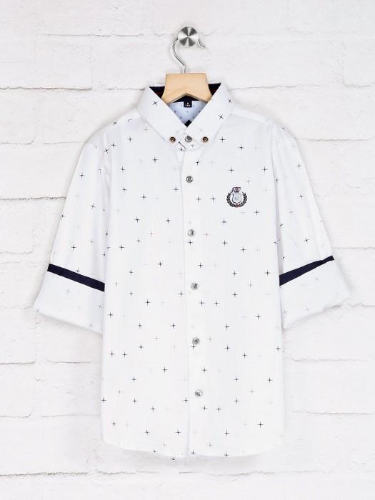 Ruff Full Sleeves White Printed Shirt