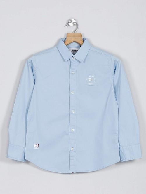 Ruff Navy And White Printed Boys Cotton Shirt