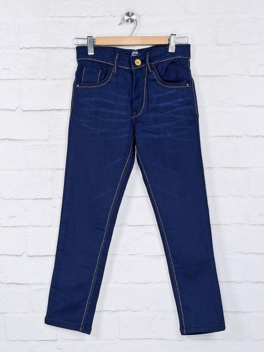Ruff Presented Solid Navy Slim Fit Jeans