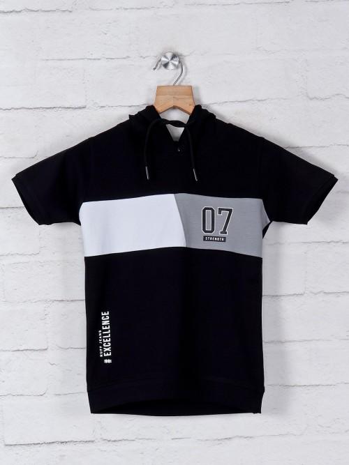 Ruff Solid Black Solid Slim Fit T-shirt