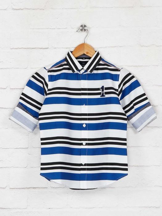 Ruff White And Blue Stripe Cotton Shirt