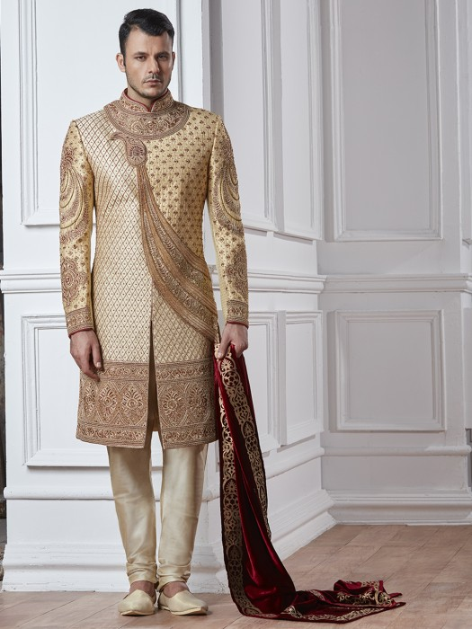 Silk Sherwani In Cream Gold Color