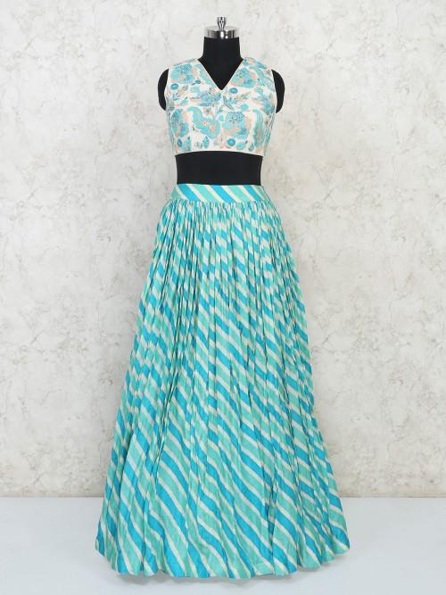 Silk Wedding Wear Green And Blue Lehenga Choli