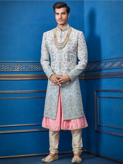 Sky Blue And Pink Designer Double Layer Sherwani