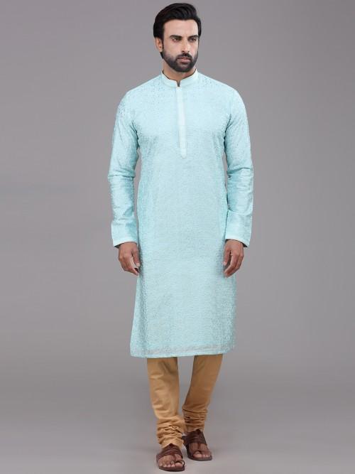 Sky Blue Chanderi Silk Kurta Suit For Mens