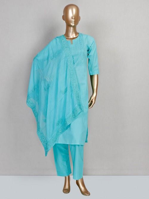 Sky Blue Cotton Pant Suit In Cotton