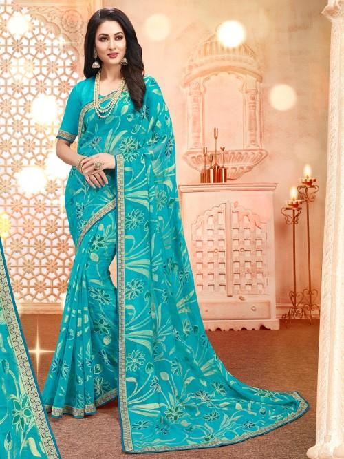 Sky Blue Georgette Festive Wear Saree