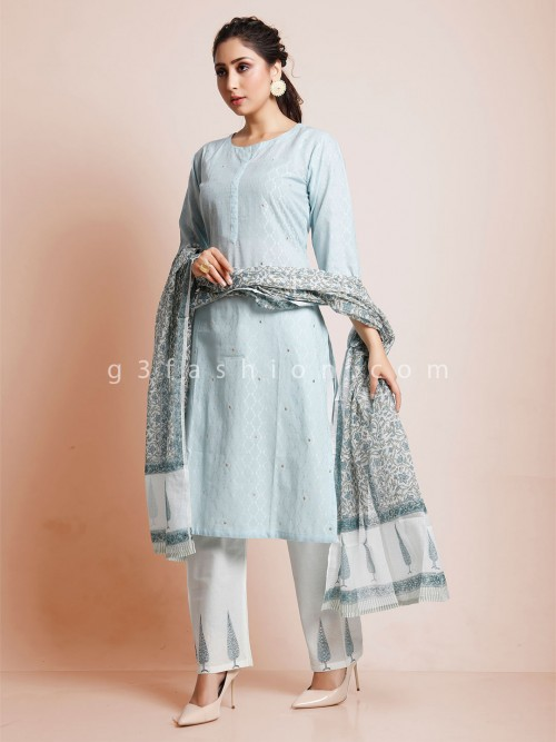 Sky Blue Pant Suit With Thread Weaving In Cotton