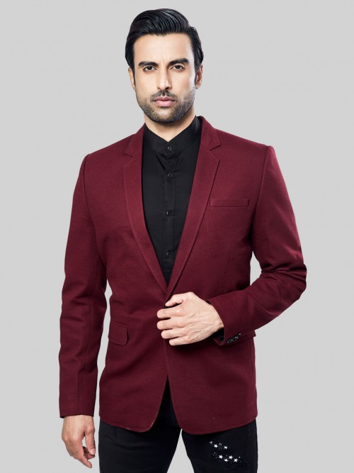 Solid Maroon Terry Rayon Party Wear Blazer