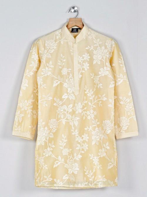 Solid Yellow Kurta Suit In Cotton Silk