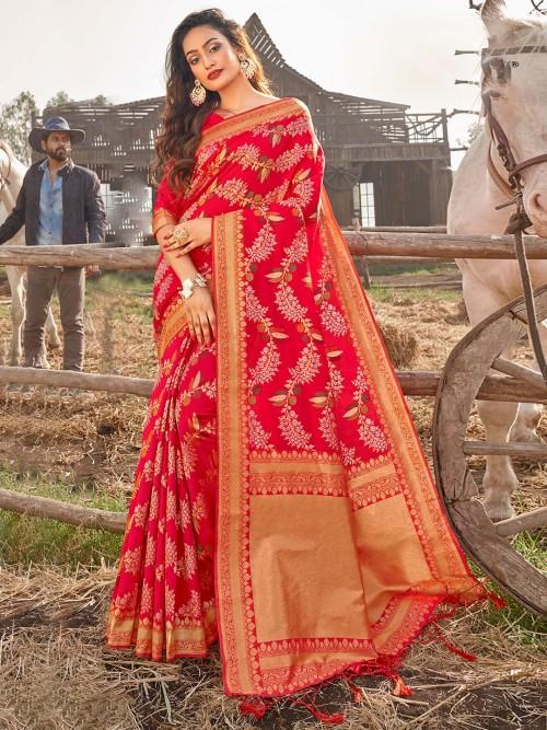 Spectacular Mustard Banarasi Silk Saree For Wedding
