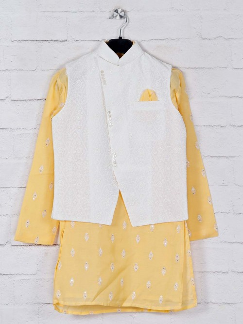 Stand Collar White And Yellow Waistcoat Set