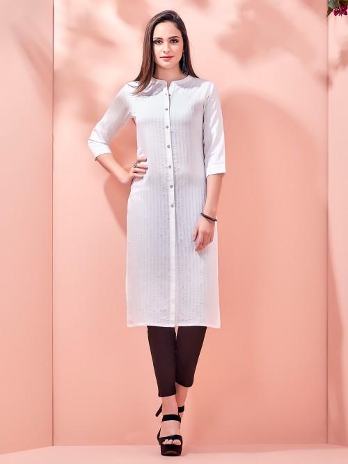 Stripe White Casual Wear Kurti