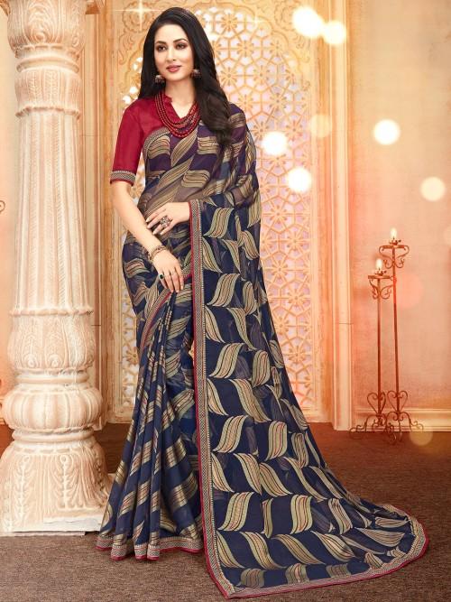 Stunning Dark Blue Georgette Saree For Festive Look