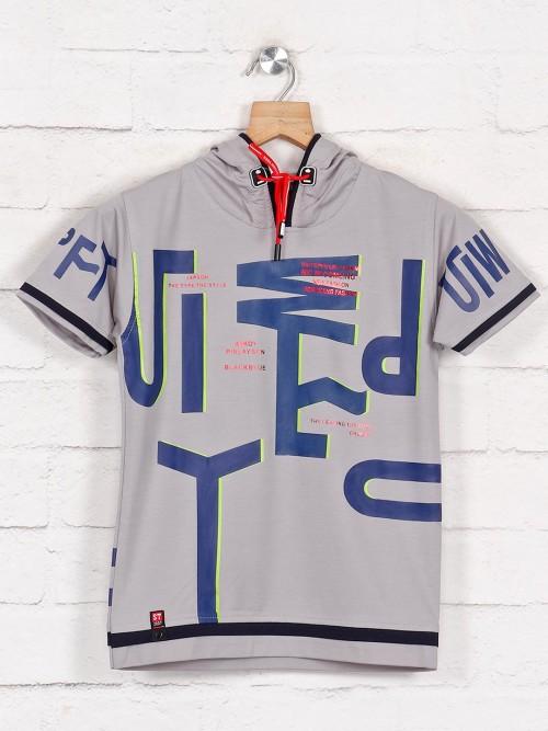 Sturd Casual Wear Grey Printed Hooded T-shirt