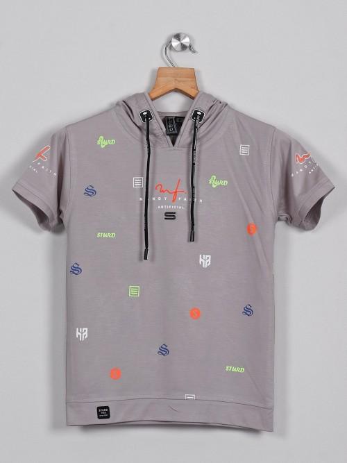 Sturd Grey Printed Casual Cotton T-shirt