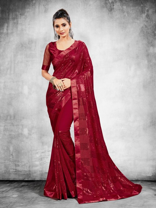 Stylish Party Wear Georgette Saree In Maroon
