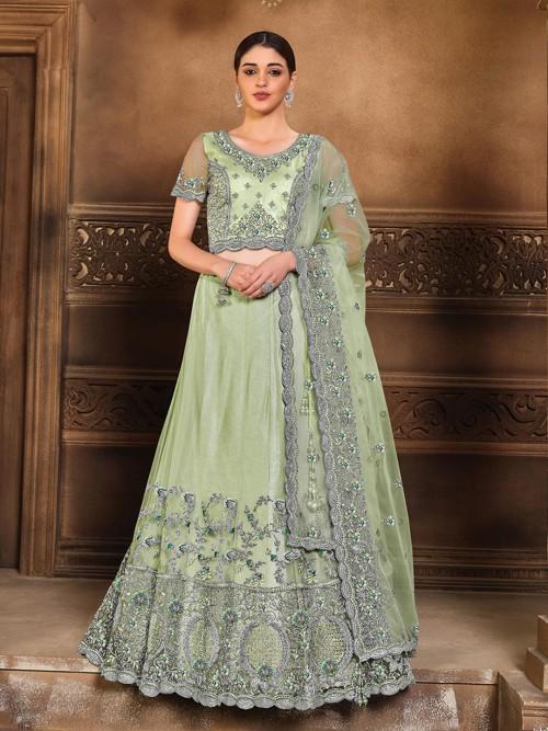 Stylish Wedding Wear Semi Stitched Lehenga Choli In Sea Green