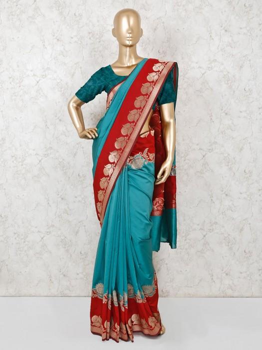 Teal Blue Semi Silk Wedding Function Saree
