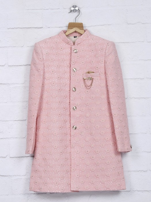 Terry Rayon Pink Color Wedding Indo Western