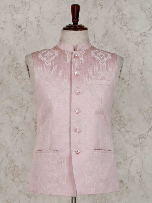 Terry Rayon Pink Party Wear Waistcoat