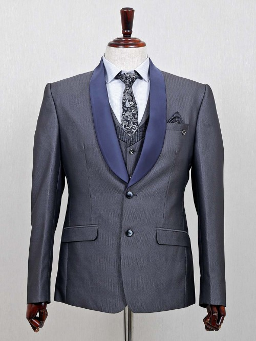 Terry Rayon Solid Violet Three Piece Coat Suit