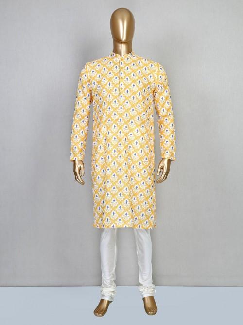 Thread Work Yellow Cotton Kurta Suit For Mens