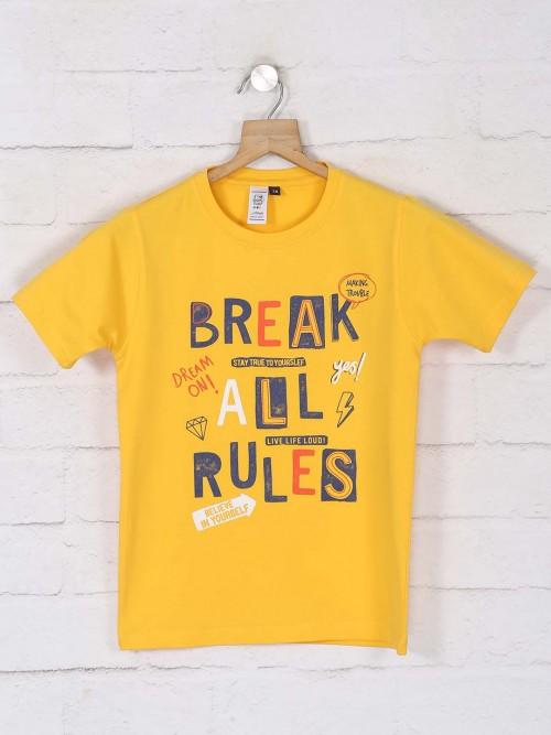 Timbuktuu Yellow Printed Cotton T-shirt