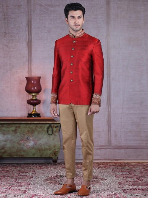 Traditional Solid Red Raw Silk Wedding Jodhpuri Suit