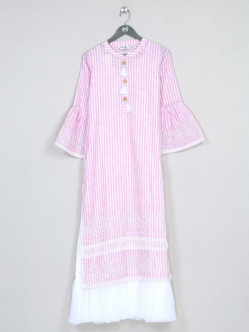 Trendy Pink Cotton Festive Wear Kurti