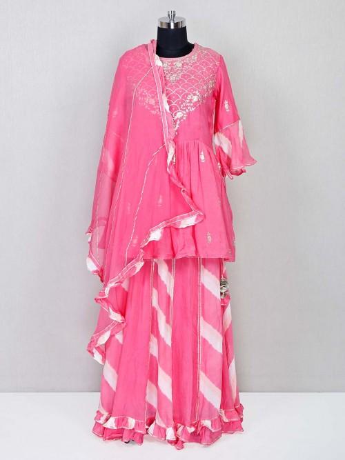 Trendy Pink Lehenga Style Salwar Suit