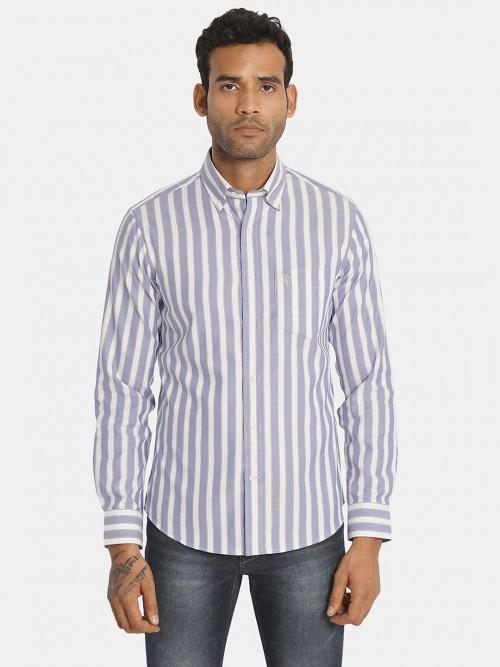U S Polo Assn Cotton White And Blue Stripe Shirt