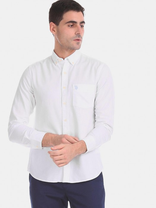 U S Polo Assn White Solid Shirt