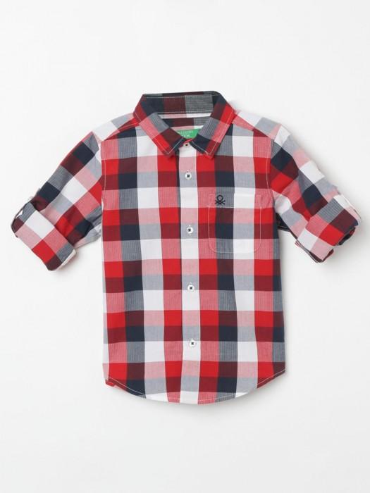UCB Red And White Checks Cotton Shirt