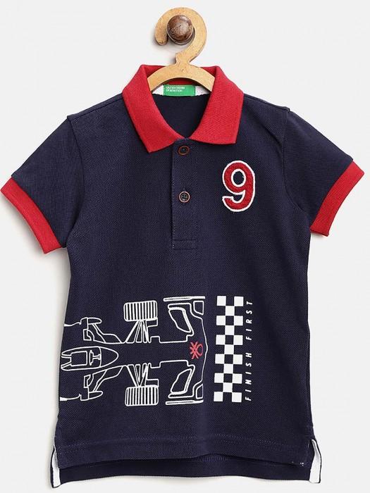 UCB Solid Navy Hued Boys T-shirt