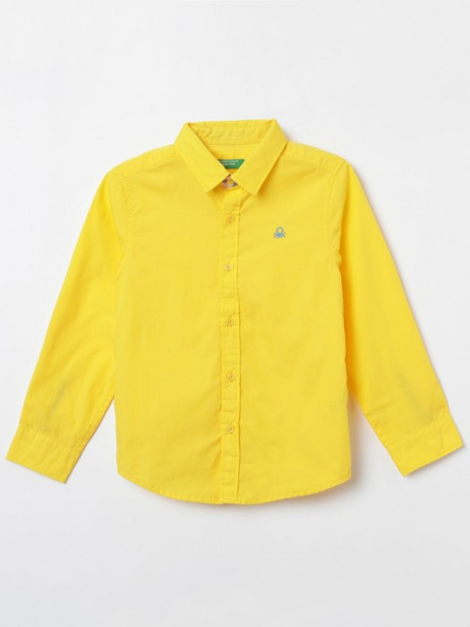 United Colors Of Benetton Bright Yellow Solid Boys Shirt