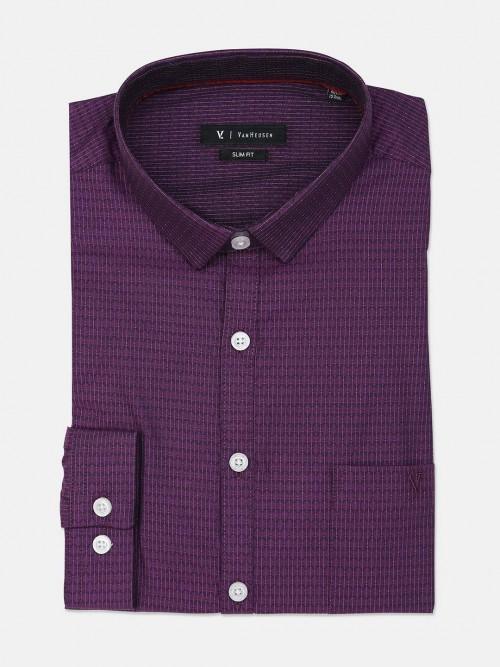 Van Heusen Solid Purple Slim Collar Shirt