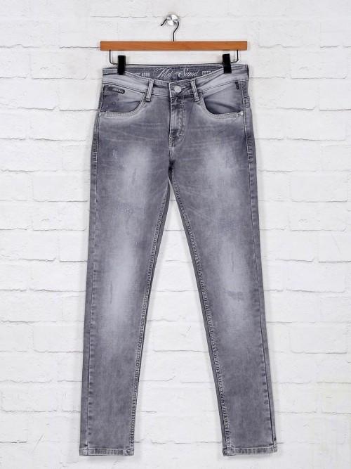 Washed Grey Denim Jeans For Mens