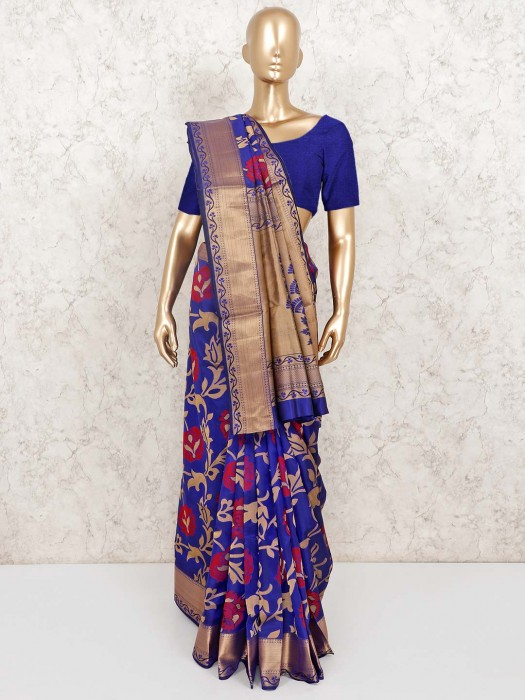 Wedding Function Banarasi Pure Silk Sari In Orange