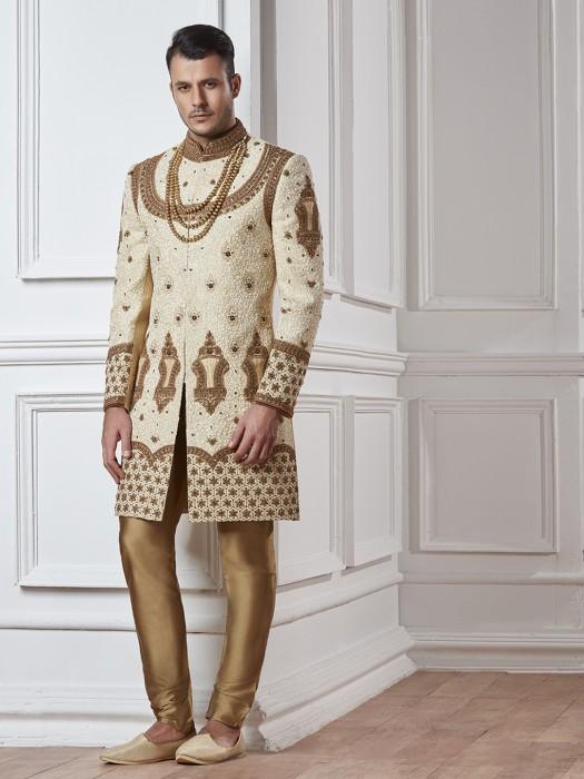 Wedding Wear Beige Gold Indo Western