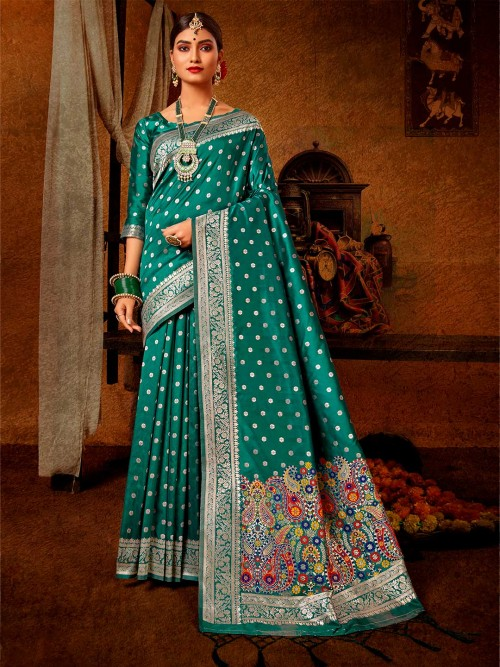 Wedding Wear Latest Teal Blue Banarasi Silk Saree