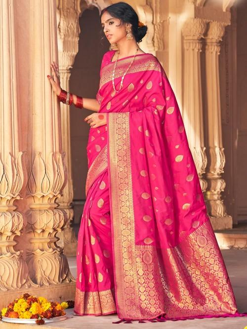 Wedding Wear Saree In Pink Colour