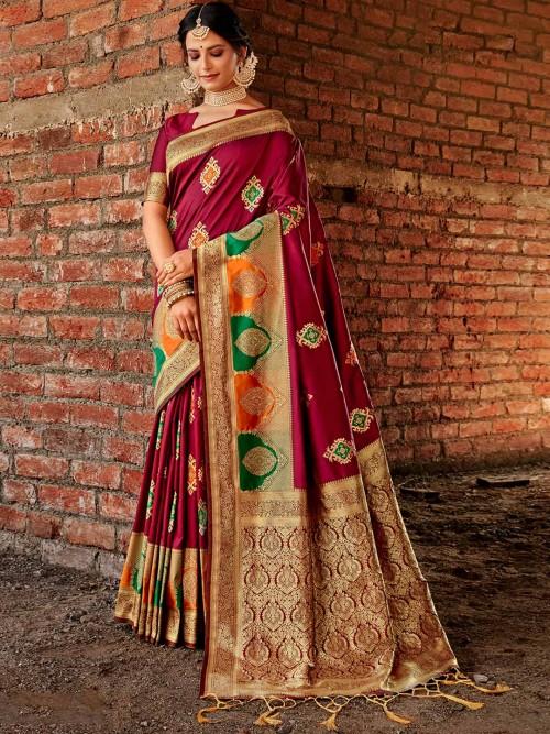 Wine Zari Inflated Banarasi Silk Saree For Festive