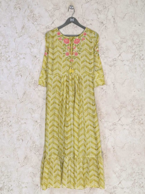 Yellow Cotton Casual Wear Printed Kurti