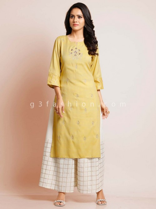 Yellow Cotton Festive Wear Cotton Suit