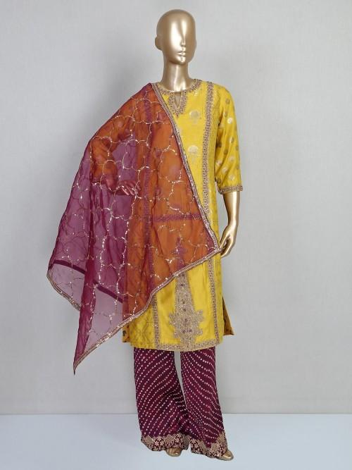 Yellow Cotton Silk Festive Wear Salwar Suit For Parties