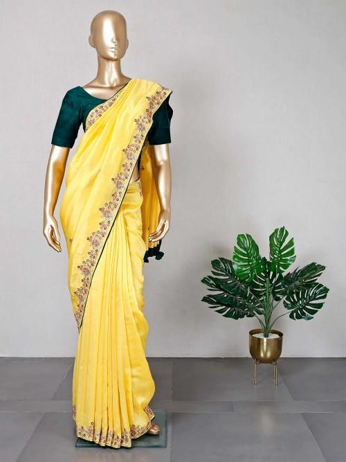 Yellow Festive Wear Silk Saree