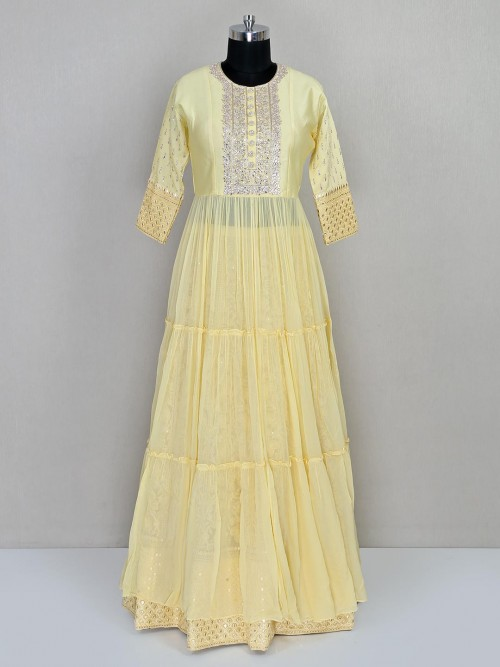 Yellow Georgette Salwar Suit With Lehenga Bottom