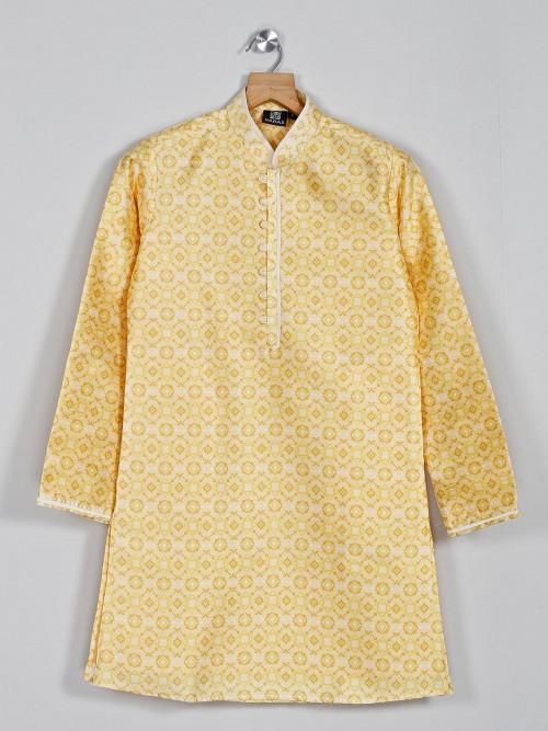 Yellow Printed Cotton Silk Festive Kurta Suit